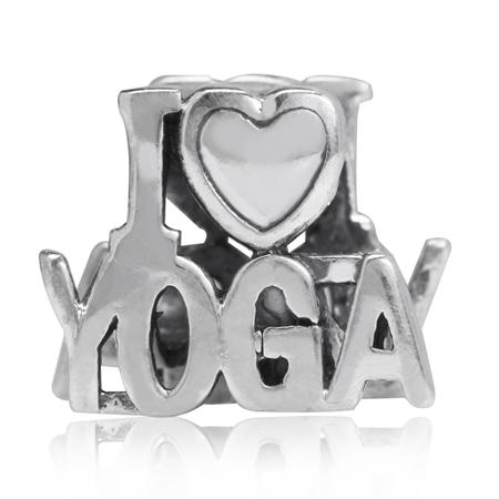 925 Sterling Silver I LOVE YOGA European Charm Bead (Fits Pandora Chamilia)