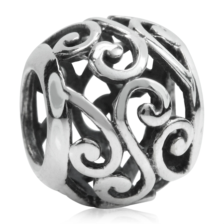 925 Sterling Silver FILIGREE VICTORIAN STYLE European Charm Bead (Fits Pandora Chamilia)