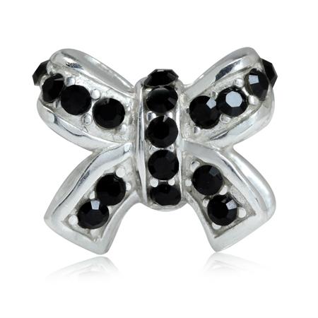 AUTH Nagara Black Crystal 925 Sterling Silver RIBBON BOW European Charm Bead