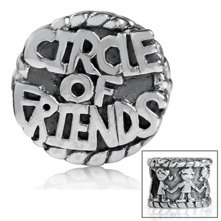 925 Sterling Silver CIRCLE of FRIENDS European Charm Bead (Fits Pandora Chamilia)