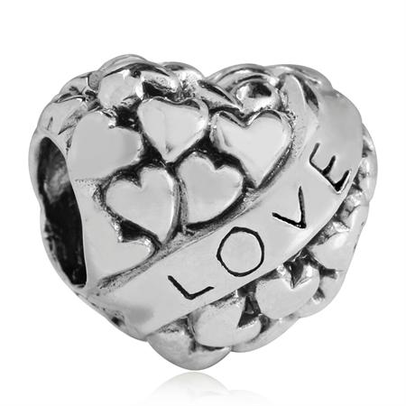 925 Sterling Silver HEART LOVE European Charm Bead (Fits Pandora Chamilia)
