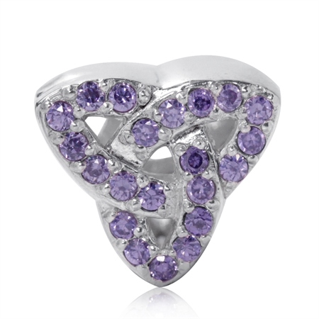 AUTH Nagara Amethyst CZ 925 Sterling Silver Triquetra Celtic Knot European Charm Bead
