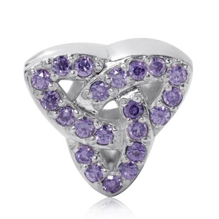 AUTH Nagara Amethyst CZ 925 Sterling Silver Triquetra Celtic Knot European Charm Bead