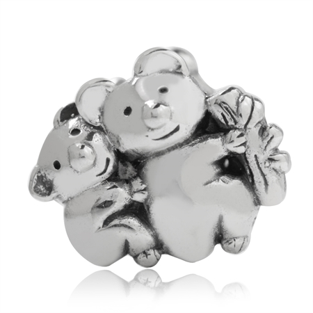 925 Sterling Silver Twin Koala Bear European Charm Bead (Fits Pandora Chamilia)