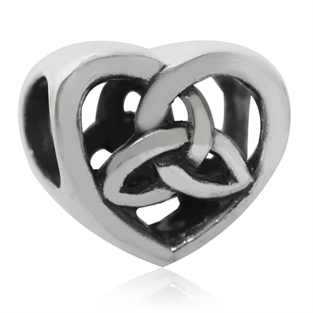 925 Sterling Silver Triquetra Celtic Knot in Heart European Charm Bead (Fits Pandora Chamilia)