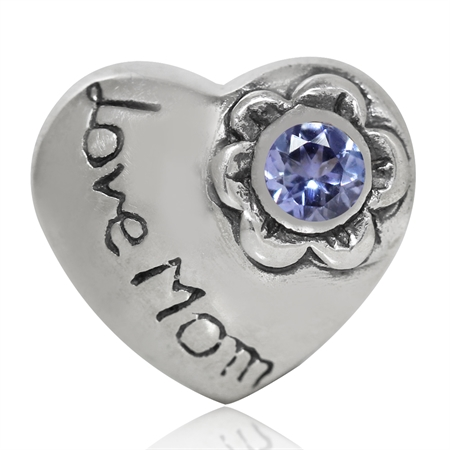 Genuine Tanzanite 925 Sterling Silver HEART LOVE MOM European Charm Bead