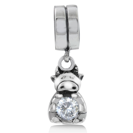 White CZ 925 Sterling Silver Chinese Zodiac COW Dangle European Charm Bead (Fits Pandora Chamilia)