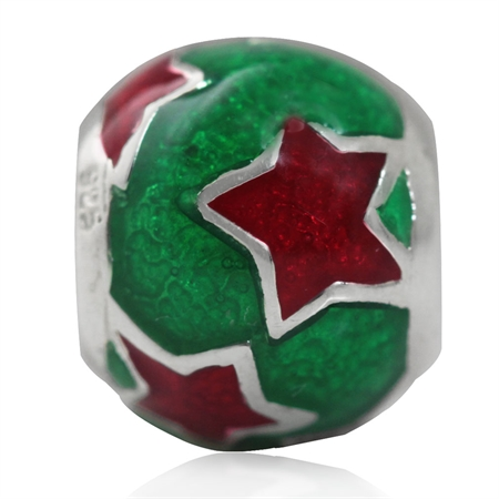 Red & Green Enamel 925 Sterling Silver STAR European Charm Bead (Fits Pandora Chamilia)