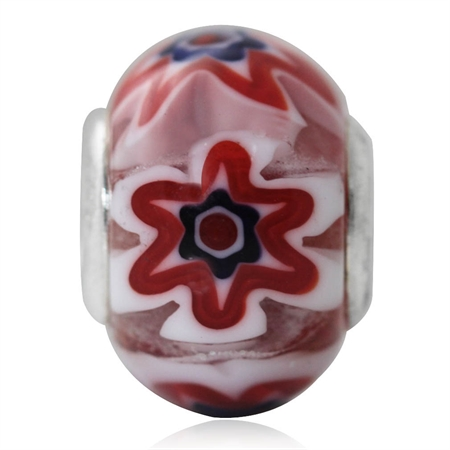 Murano Glass 925 Sterling Silver European Charm Bead (Fits Pandora Chamilia)