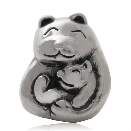 925 Sterling Silver MOTHER & BABY BEAR European Charm Bead (Fits Pandora Chamilia)
