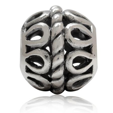 925 Sterling Silver Filigree & Rope European Charm Bead (Fits Pandora Chamilia)