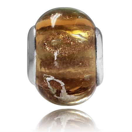 Multicolor Murano Lampwork Glass 925 Sterling Silver European Charm Bead (Fits Pandora Chamilia)