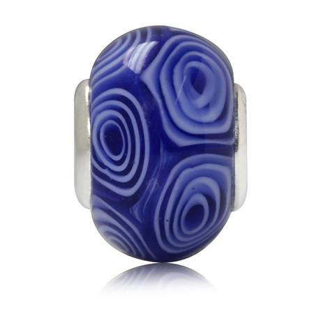 Blue & White Murano Glass 925 Sterling Silver European Charm Bead (Fits Pandora Chamilia)