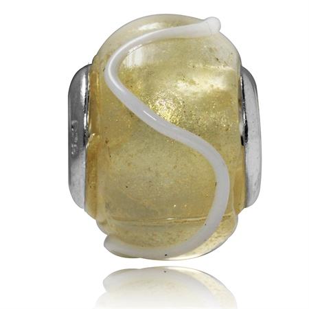 White Murano Glass 925 Sterling Silver European Charms Bead (Fits Pandora Chamilia)