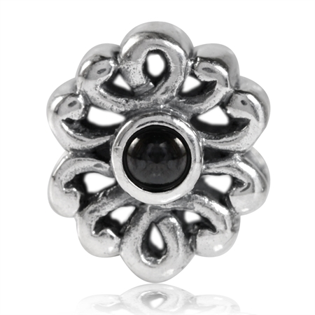 Black CZ Cabochon 925 Sterling Silver Filigree European Charm Bead (Fits Pandora Chamilia)