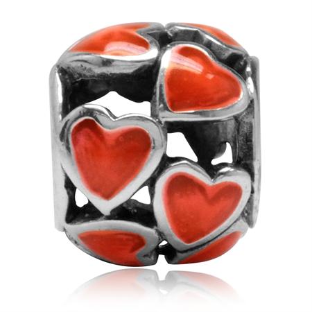 UV Orange Color Enamel 925 Sterling Silver HEART Filigree European Charm Bead (Fits Pandora)