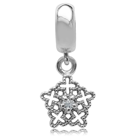Genuine White Topaz 925 Sterling Silver Filigree Snowflake Dangle European Charm Bead