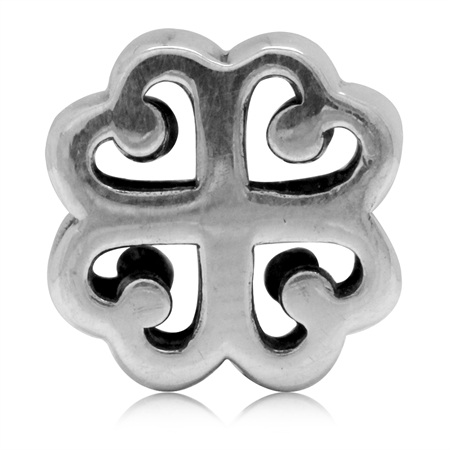 925 Sterling Silver FOUR-LEAF CLOVER Filigree European Charm Bead (Fits Pandora Chamilia)