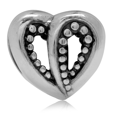 925 Sterling Silver Filigree Heart Balinese Style European Charm Bead (Fits Pandora Chamilia)