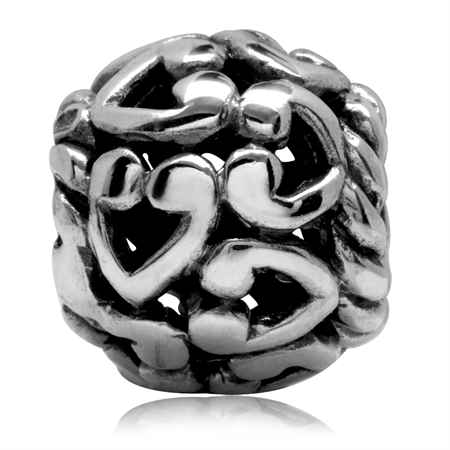 925 Sterling Silver HEART Filigree Pattern European Charm Bead (Fits Pandora Chamilia)