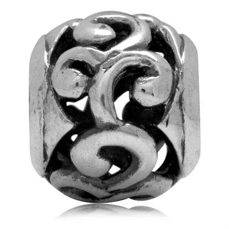925 Sterling Silver Swirl Filigree Pattern European Charm Bead (Fits Pandora Chamilia)