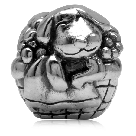 925 Sterling Silver a Dog in Basket Bed European Charm Bead (Fits Pandora Chamilia)