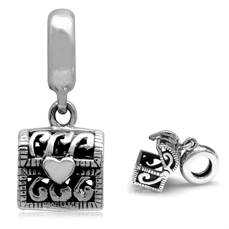 925 Sterling Silver Openable Treasure Chest Dangle European Charm Bead (Fits Pandora Chamilia)