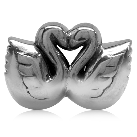 925 Sterling Silver Forever Love Swan Mate for Life European Charm Bead (Fits Pandora Chamilia)