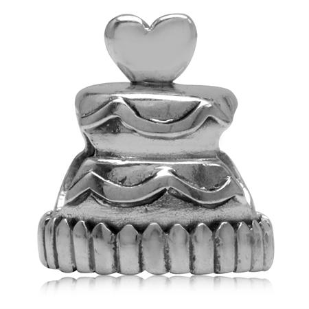 925 Sterling Silver Wedding Cake European Charm Bead (Fits Pandora Chamilia)