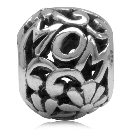 925 Sterling Silver MOM in a Flower Filigree Ball European Charm Bead (Fits Pandora Chamilia)
