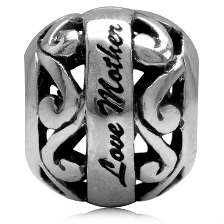 925 Sterling Silver LOVE MOTHER Swirl Filigree European Charm Bead (Fits Pandora Chamilia)
