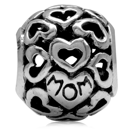 925 Sterling Silver MOM in HEART Filigree European Charm Bead (Fits Pandora Chamilia)