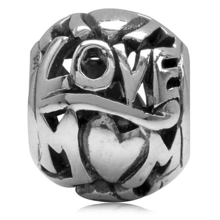 925 Sterling Silver LOVE MOM Filigree European Charm Bead (Fits Pandora Chamilia)