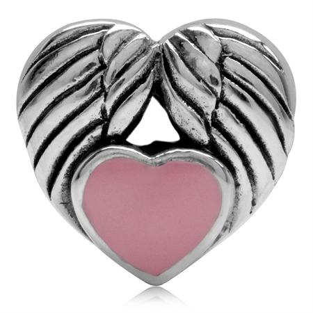 Pink Enamel Heart 925 Sterling Silver Angel Wing European Charm Bead (Fits Pandora Chamilia)