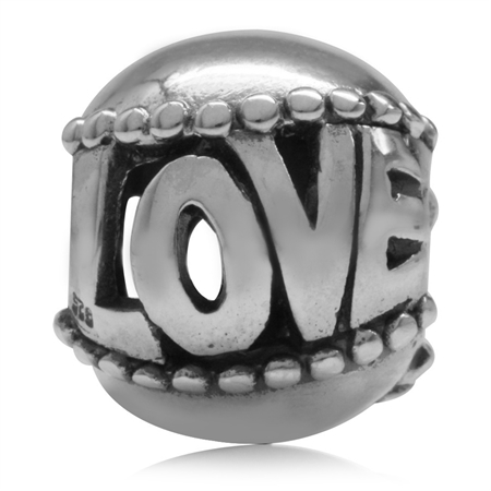 Filigree LOVE Ball 925 Sterling Silver European Charm Bead (Fits Pandora Chamilia)