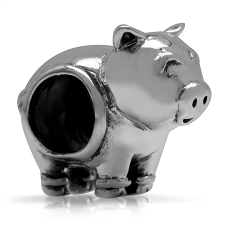 925 Sterling Silver Happy PIG European Charm Bead (Fits Pandora Chamilia)
