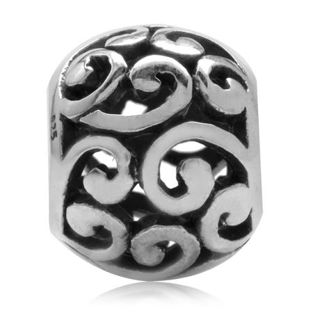 925 Sterling Silver Victorian Style Filigree Swirl European Charm Bead (Fits Pandora Chamilia)