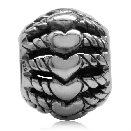 925 Sterling Silver Filigree Heart & Rope European Charm Bead (Fits Pandora Chamilia)
