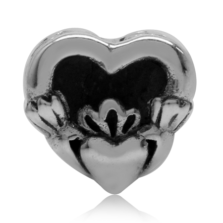 925 Sterling Silver Irish Claddagh Symbol Heart European Charm Bead (Fits Pandora Chamilia)