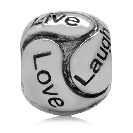 925 Sterling Silver LIVE LOVE LAUGH European Charm Bead (Fits Pandora Chamilia)