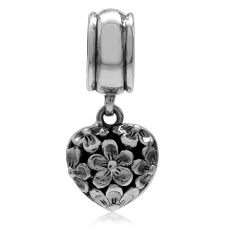 925 Sterling Silver LIVE LOVE LAUGH Heart & Plumeria Dangle European Charm Bead