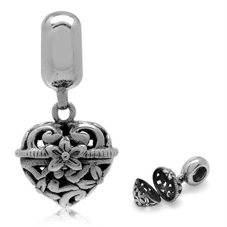 925 Sterling Silver Dangle Filigree Heart Shape Openable Locket European Charm Bead