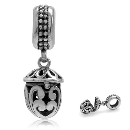 925 Sterling Silver Dangle ACORN Shape Openable Locket European Bead Charm (Fits Pandora Chamilia)