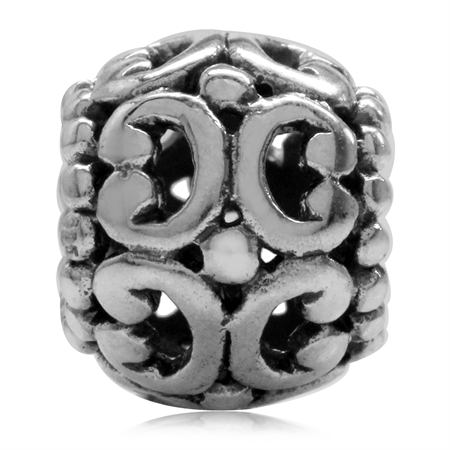 925 Sterling Silver Filigree Pattern European Bead Charm (Fits Pandora Chamilia)