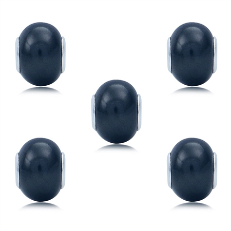 SET of 5 Imitation Black Pearl 925 Sterling Silver European Charm Bead (Fits Pandora Chamilia)