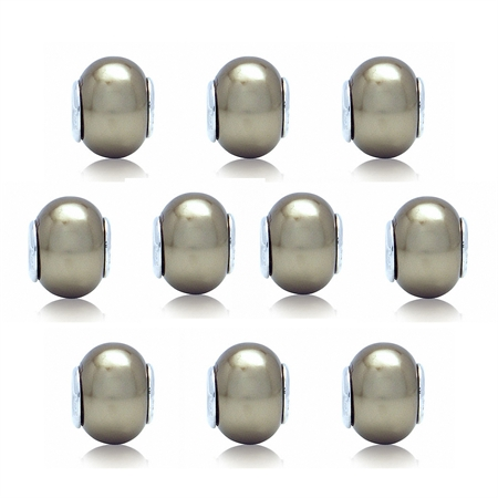 SET of 10 Imitation Golden Pearl 925 Sterling Silver European Charm Bead (Fits Pandora Chamilia)