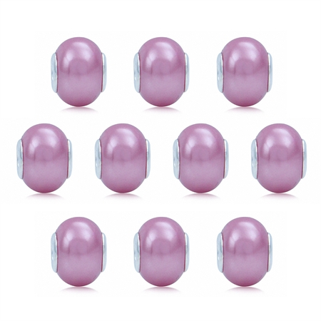 SET of 10 Imitation Pink Pearl 925 Sterling Silver European Charm Bead (Fits Pandora Chamilia)