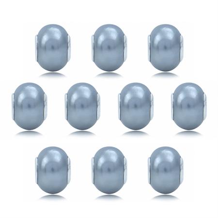 SET of 10 Imitation Light Grey Pearl 925 Sterling Silver European Charm Bead (Fits Pandora Chamilia)