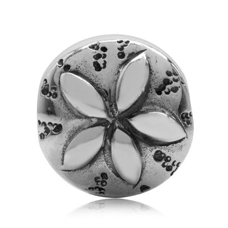 925 Sterling Silver Dollar Sand European Charm Bead (Fits Pandora Chamilia)