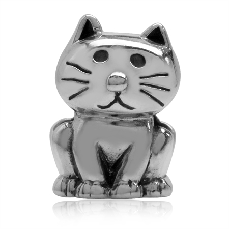 925 Sterling Silver Cat Pet European Charm Bead (Fits Pandora Chamilia)